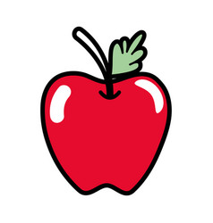 Delicious apple fruit with leaf vector