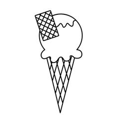 Delicious ice cream cone vector