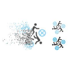 Disintegrating pixel halftone running persons for vector