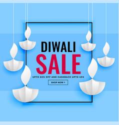 Diwali sale banner with paper diya design vector
