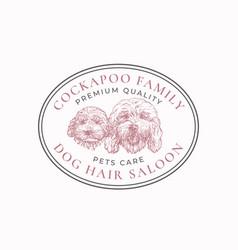 Dog hair saloon frame badge or logo template hand vector