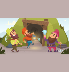 Dwarves in the mine characters of dwarves vector