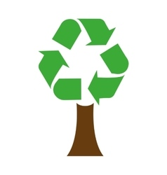 Ecological tree with recycle symbol isolated icon vector