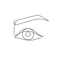 Eye black and white continuous line vector