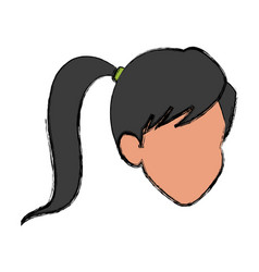 Face girl ponytail comic image vector