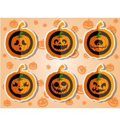 Face pumpkins for Halloween set 5 vector