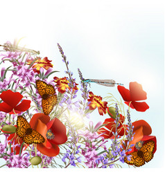 Field flowers with butterflies vector