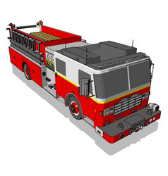 Firetruck on white background vector