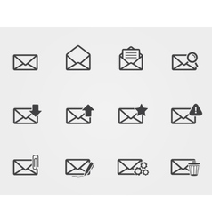 Flat black Email icons set vector
