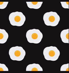 fried eggs seamless pattern on black background vector image