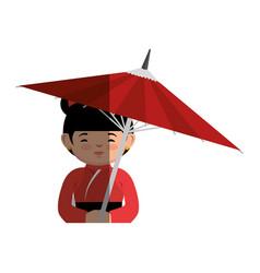 Geisha japanese girl with umbrella icon vector