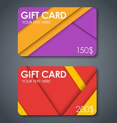 Gift cards in style of material design vector image