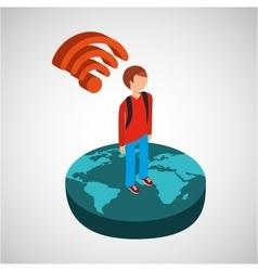 global connection wifi digital man vector image