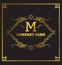 golden logo template elegant flourishes vector image