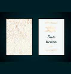 golden wedding invitation templates vector image