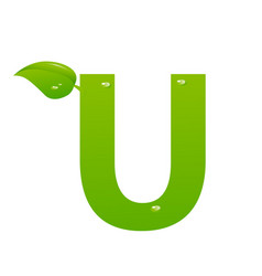 green eco letter u illiustration vector image