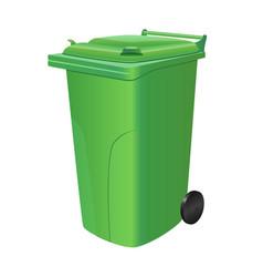 Green trash can vector