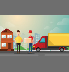 handsome man getting package from courier cartoon vector image