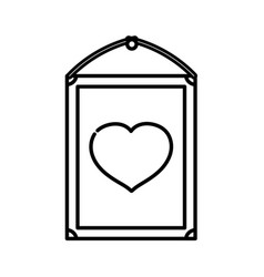 Happy valentines day hanging frame heart love vector