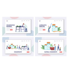 homeopathy landing page template set pharmacists vector image