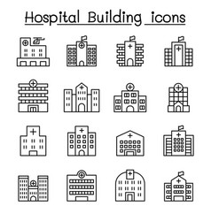 hospital building icon set in thin line style vector image