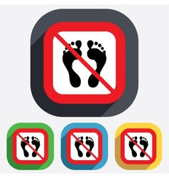 Human footprint sign icon No Barefoot symbol vector