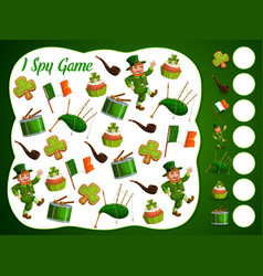 I spy kids game with st patrick day items puzzle vector
