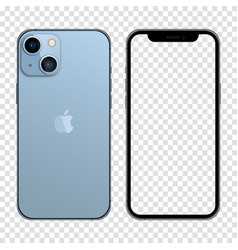 Iphone 13 sierra blue color realistic smartphone vector