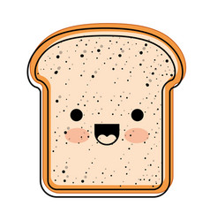 Kawaii bread slice in watercolor silhouette vector