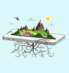 landscape on cellphone nature symbol vector image