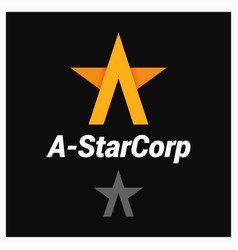 Letter a logo a-shaped star on black background vector