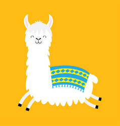 Llama alpaca running jumping cute cartoon funny vector