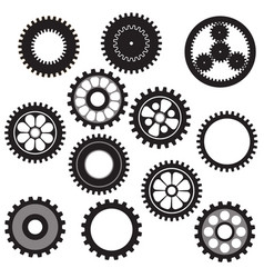 machine gear collection cogwheel set vector image
