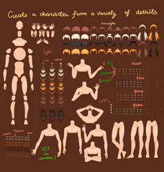 man characters set for animation parts of body vector image
