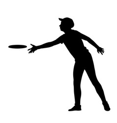 man playing outdoor beach game frisbee silhouette vector image