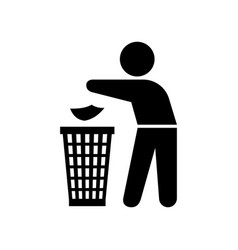 Man throwing trash silhouette vector