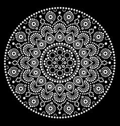Mandala art australian dot painting white vector