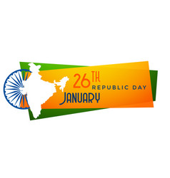 Map of india republic day banner design vector
