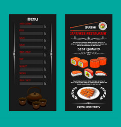 Menu of japanese restaurant or sushi bar vector