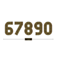 Number celtic golden style in a set 67890 vector