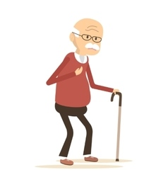 Old Man with Heart Pain vector