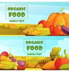 Organic Food 2 Retro Banners Set vector