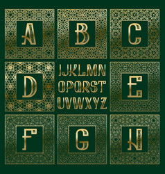 Patterned monogram kit golden letters and vector
