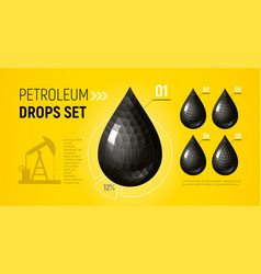 petroleum black isolated drops set on yellow vector image
