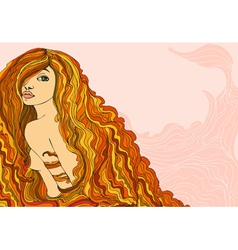 Red haired girl portrait banner vector