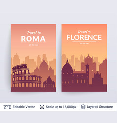 Roma and florence famous city scapes vector