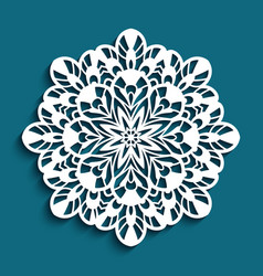round lace doily cutting template vector image