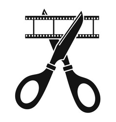scissors cut film icon simple style vector image