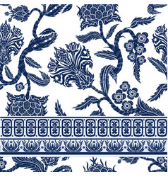 seamless pattern with branches flowers vector image