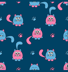 seamless pattern with cute pink and black cats vector image